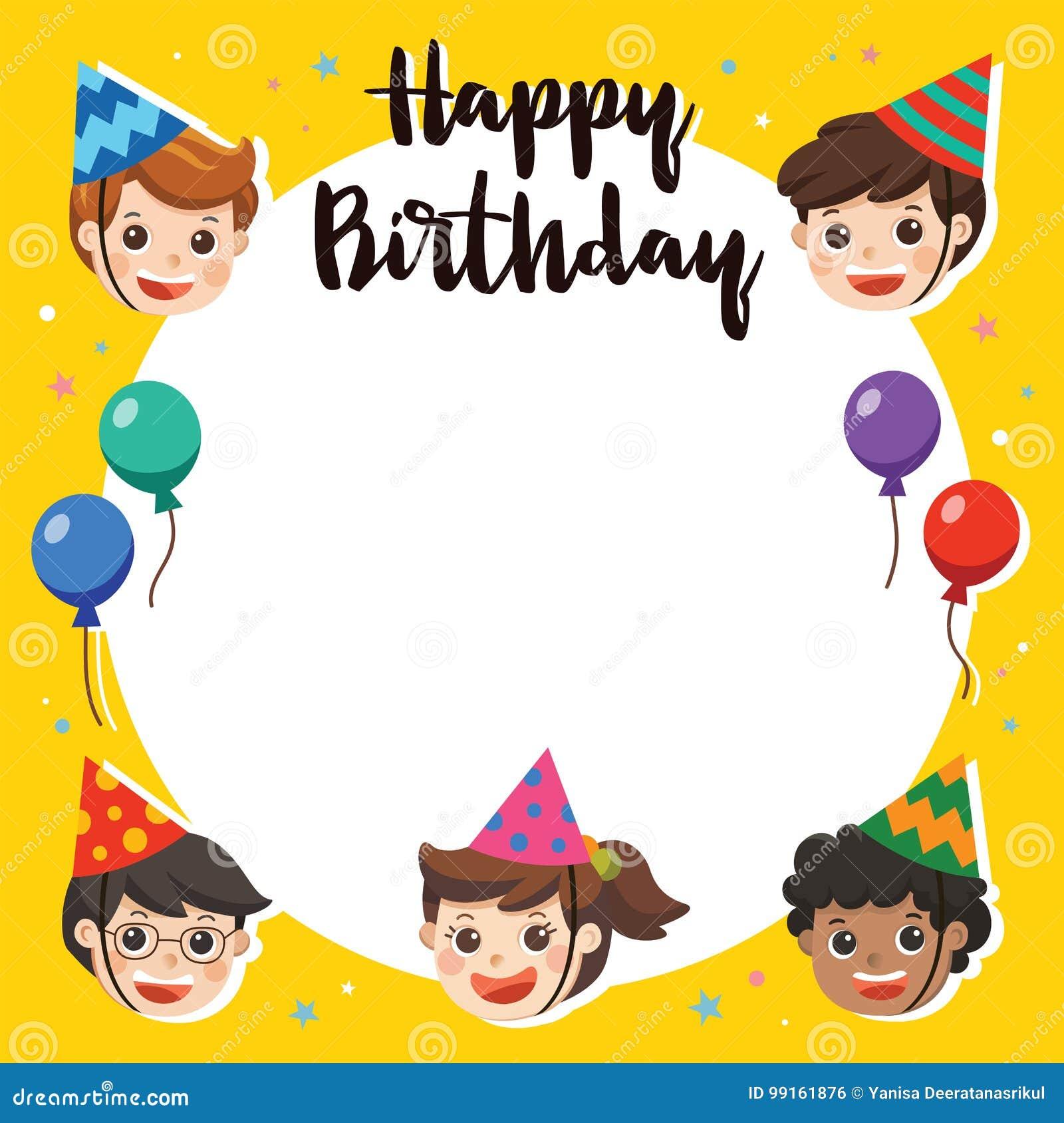 Joyeux Anniversaire Belle Salutation D Enfants Drole Illustration De