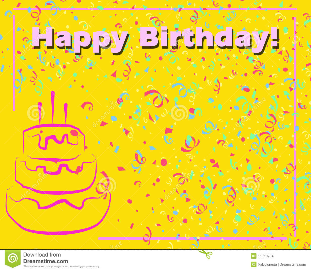 Joyeux Anniversaire Card Yellow Illustration Stock Illustration Du