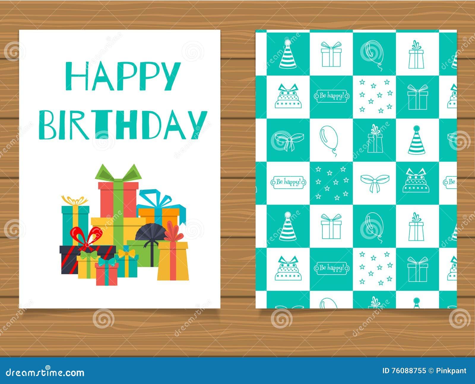Joyeux anniversaire Carte de voeux de lettrage et son verso avec une conception abstraite