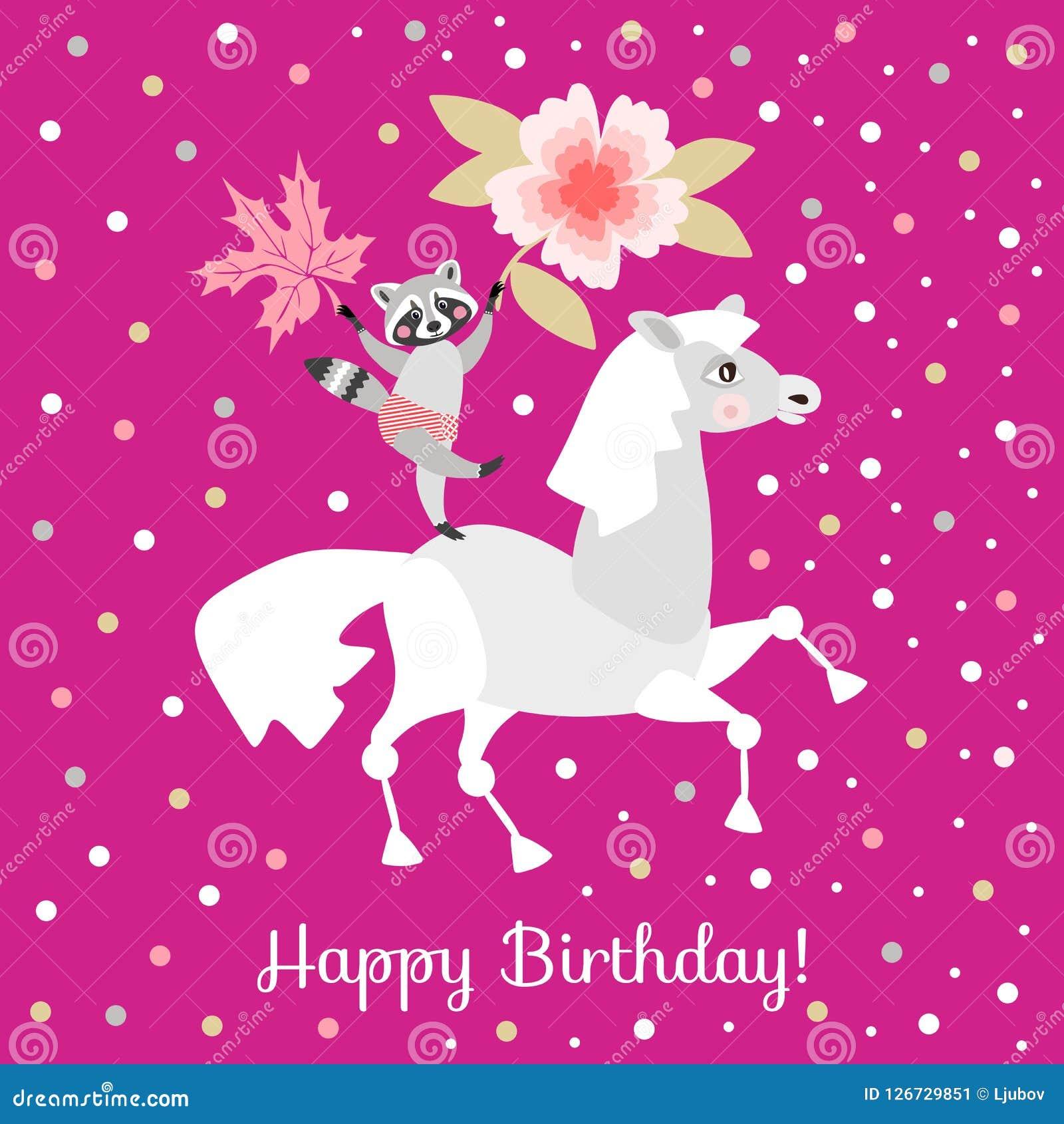 https://thumbs.dreamstime.com/z/joyeux-anniversaire-cheval-dr%C3%B4le-avec-le-cavalier-raton-laveur-la-feuille-de-fleur-et-d-%C3%A9rable-126729851.jpg