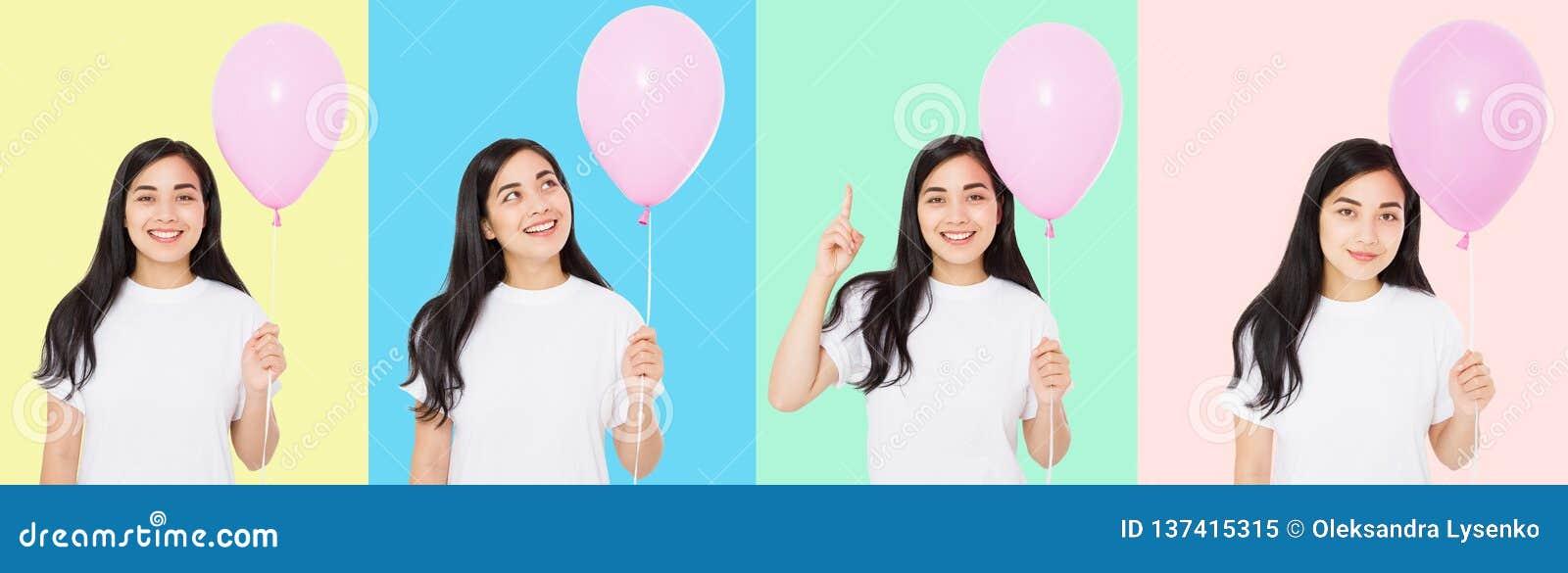 Joyeux anniversaire Collage de partie de ballon Fille asiatique heureuse avec des ballons d isolement sur le fond coloré blanc Co