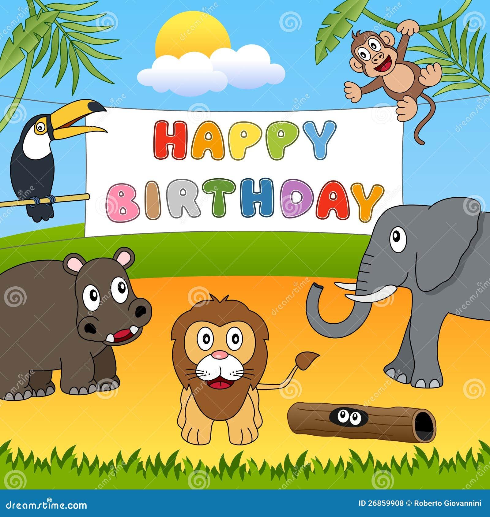 Joyeux Anniversaire D'animaux Sauvages Illustration de Vecteur - Illustration du groupe, heureux ...