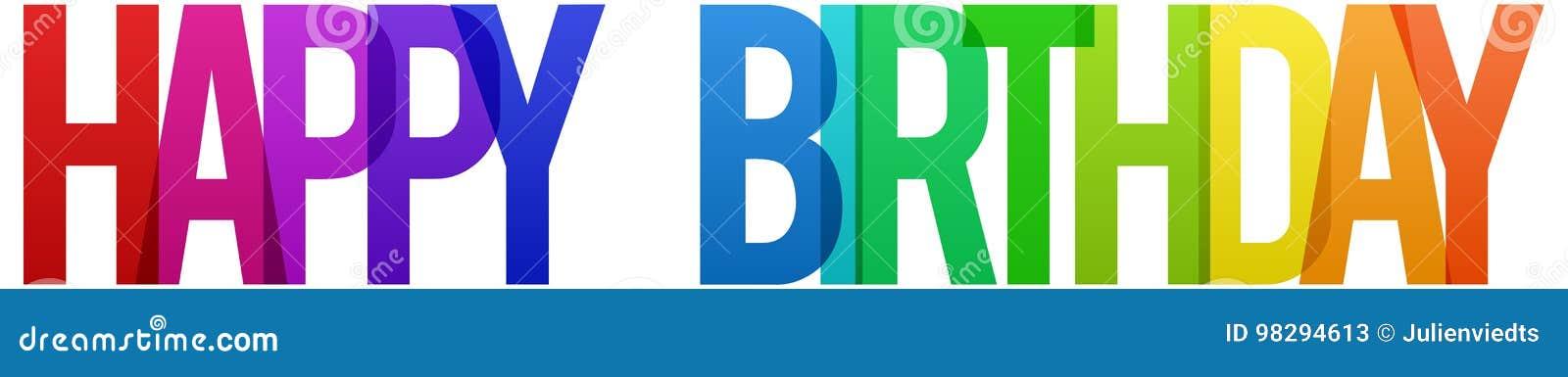 Joyeux anniversaire d arc-en-ciel coloré