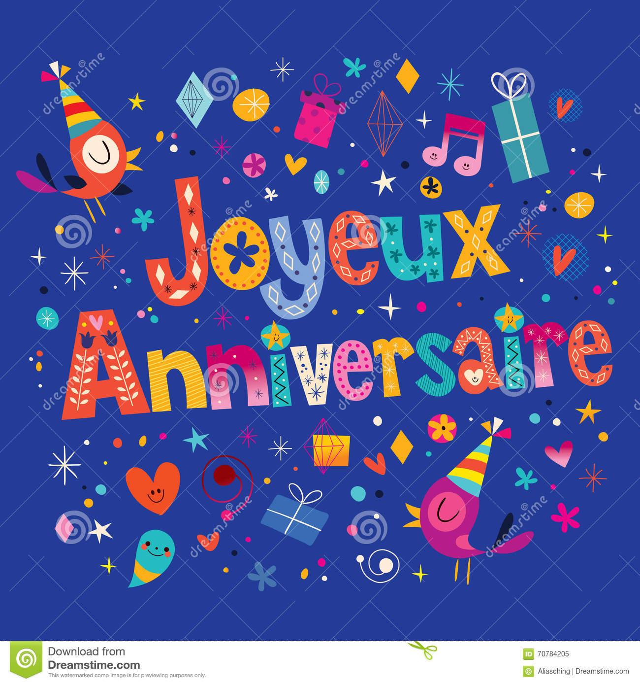 Joyeux Anniversaire Happy Birthday In French Card Stock