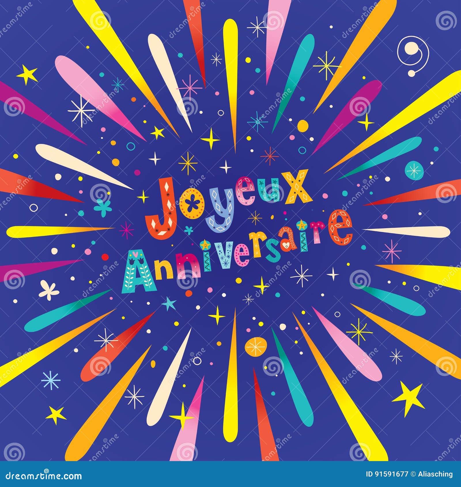 Joyeux Anniversaire Happy Birthday In French Greeting Card