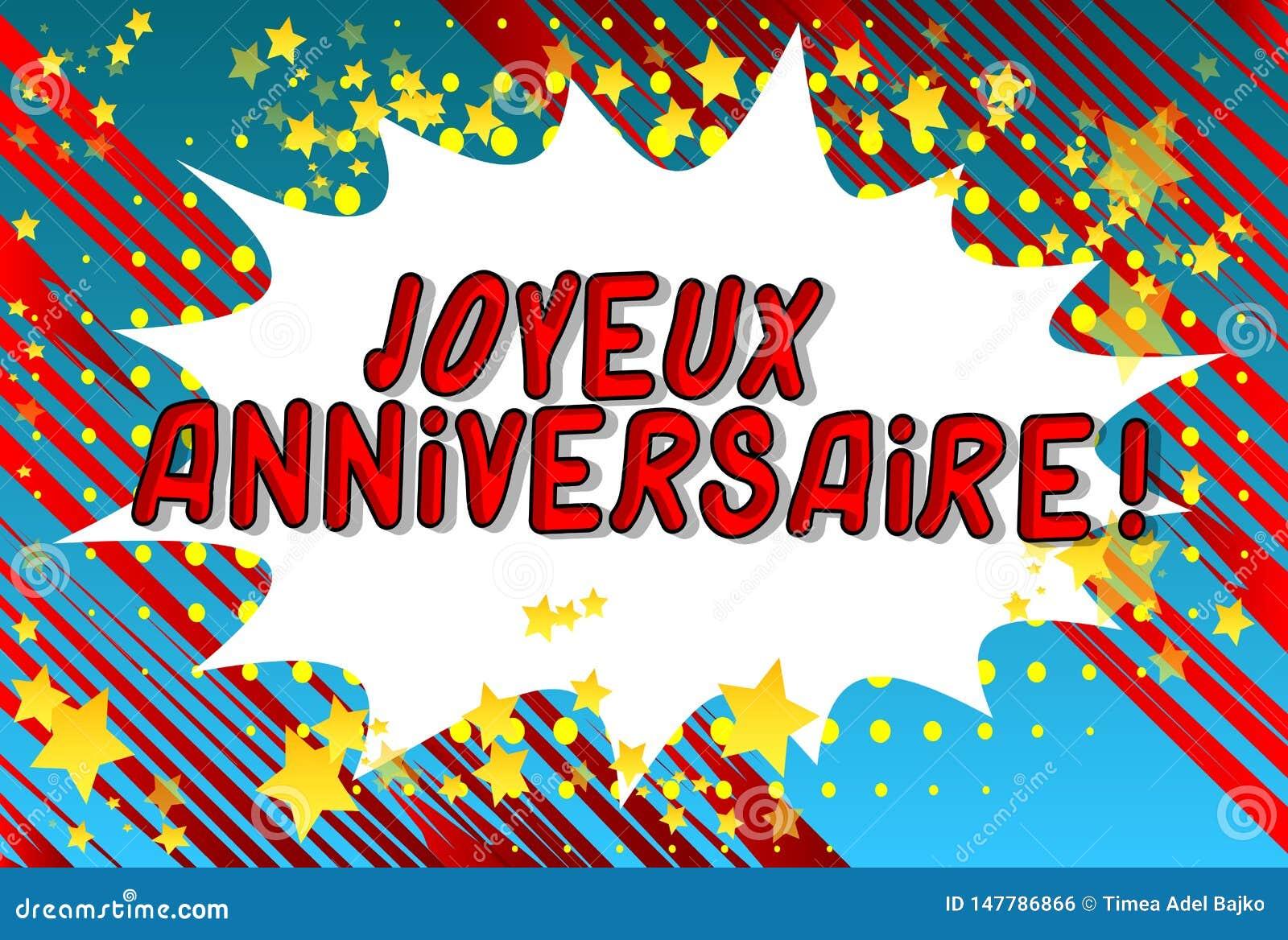 Joyeux Anniversaire Happy Birthday In French Stock Vector Illustration Of Bomb Bubble 147786866