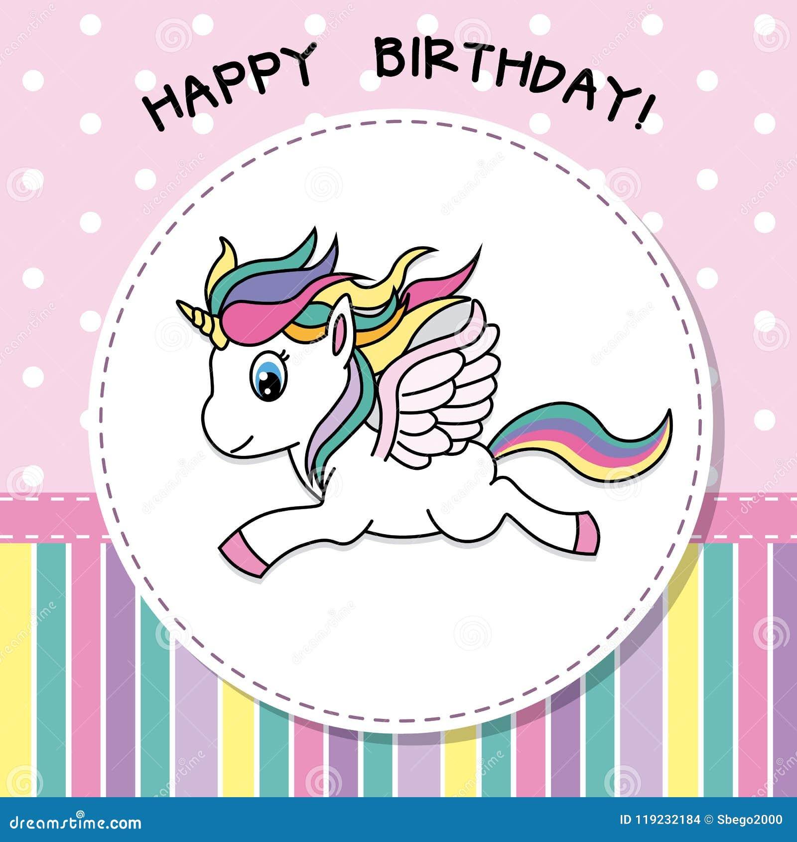 Joyeux Anniversaire Jolie Carte De Licorne Illustration De Vecteur Illustration Du Animal Magie 119232184