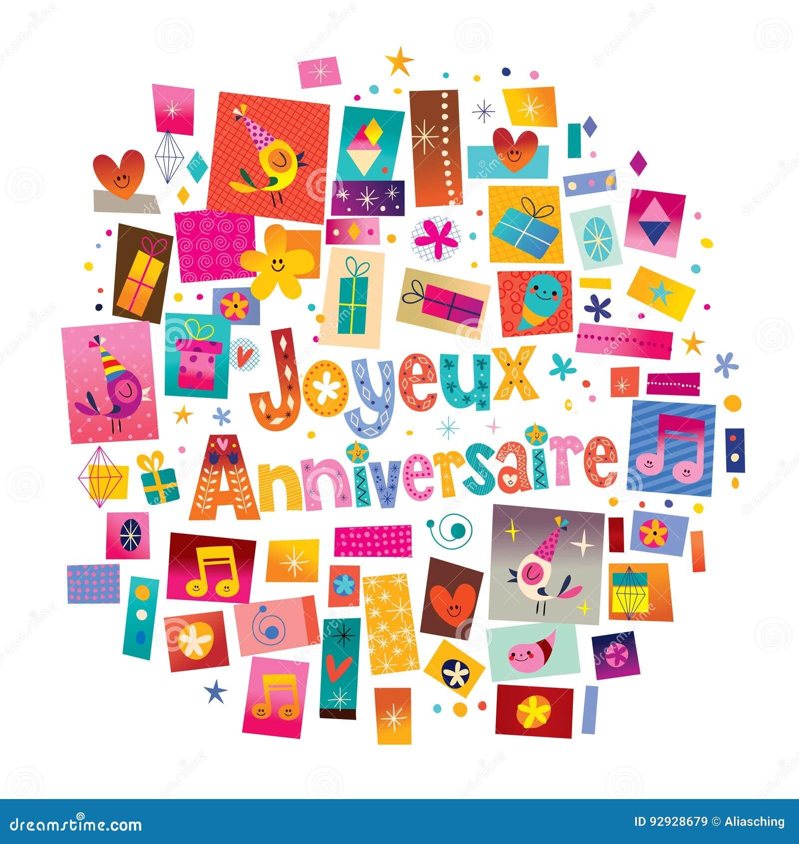 Joyeux Anniversaire lycklig födelsedag i franskt