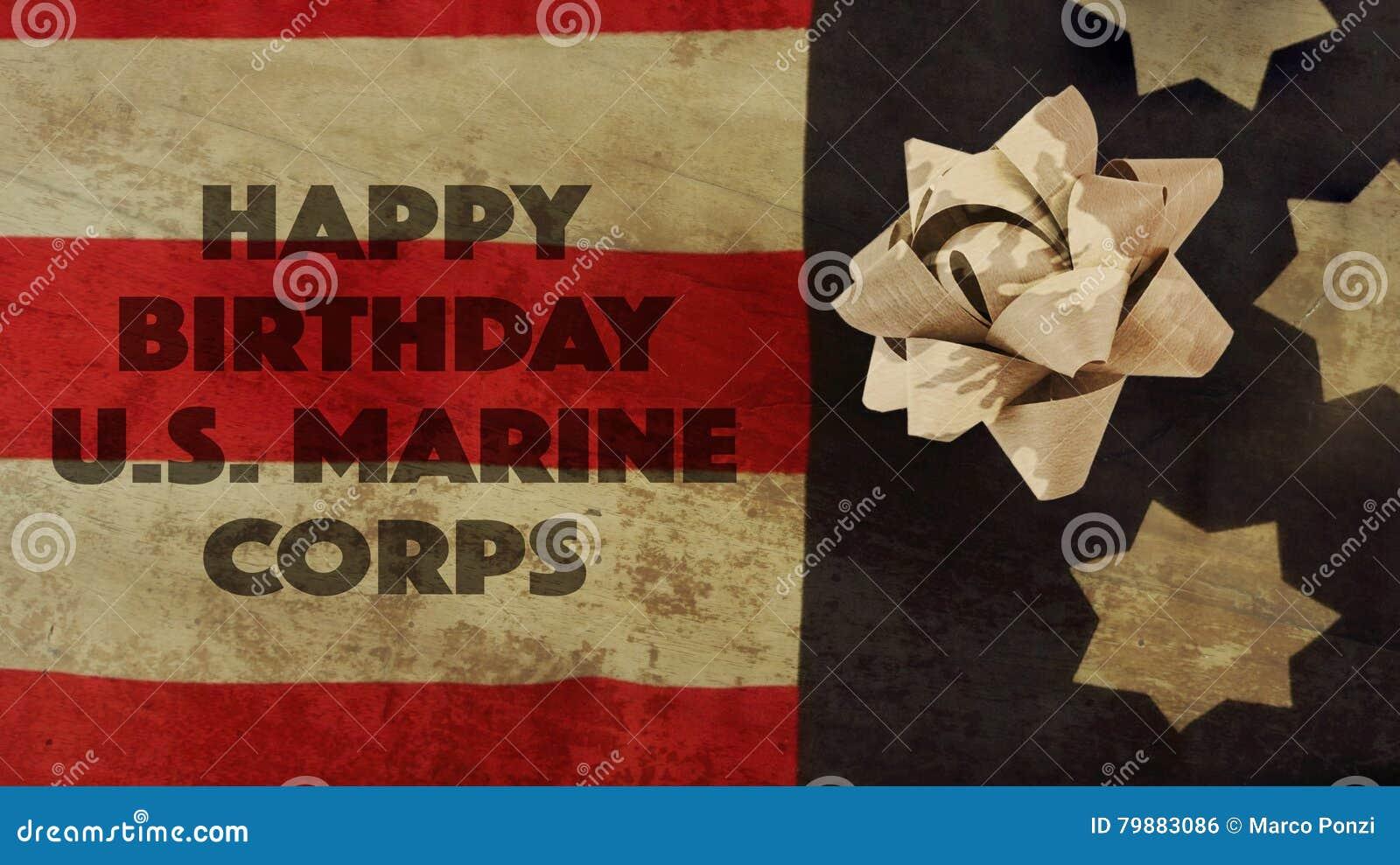 Joyeux Anniversaire Usa Marine Corps Flag Et Ruban Photo Stock