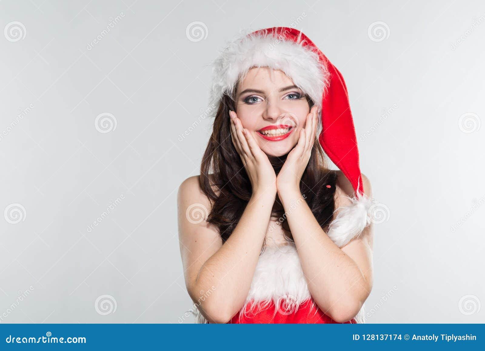 Joyeux Noël Belle jeune femme dans Mme rouge Costu de Claus