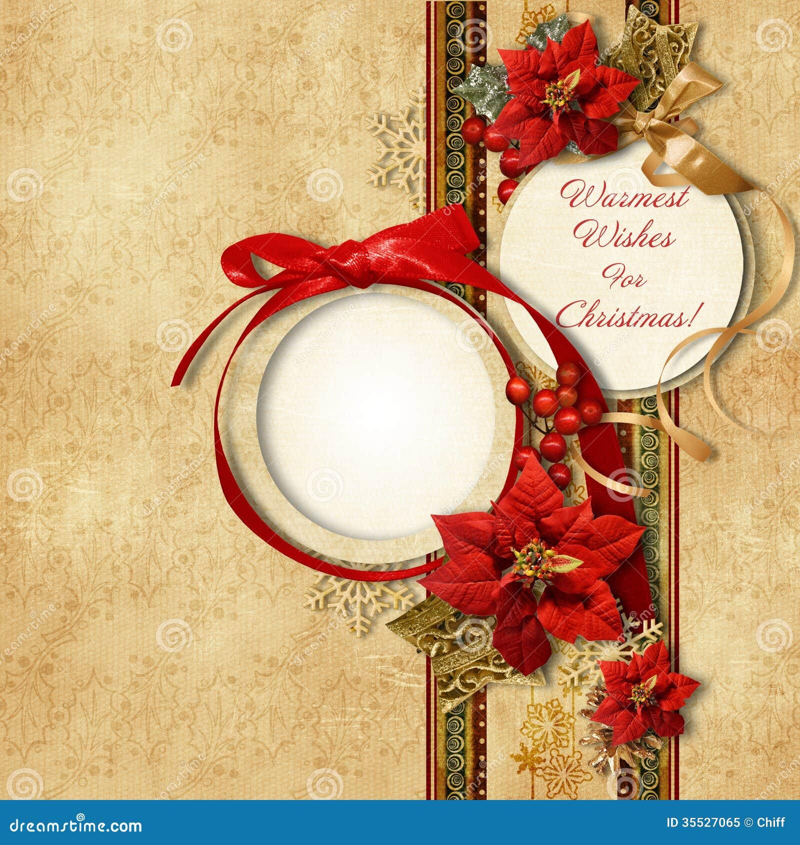 Joyeux Noël. carte de vintage avec le frame&poinsettia