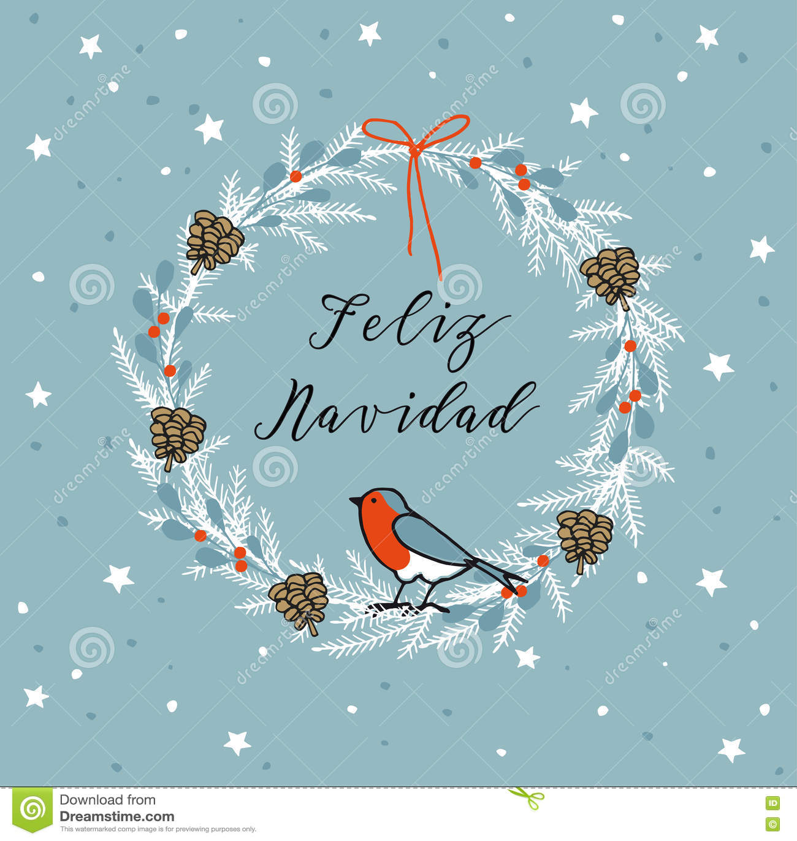 joyeux no l de vintage carte de voeux de feliz navidad d 39 espagnol invitation guirlande faite. Black Bedroom Furniture Sets. Home Design Ideas