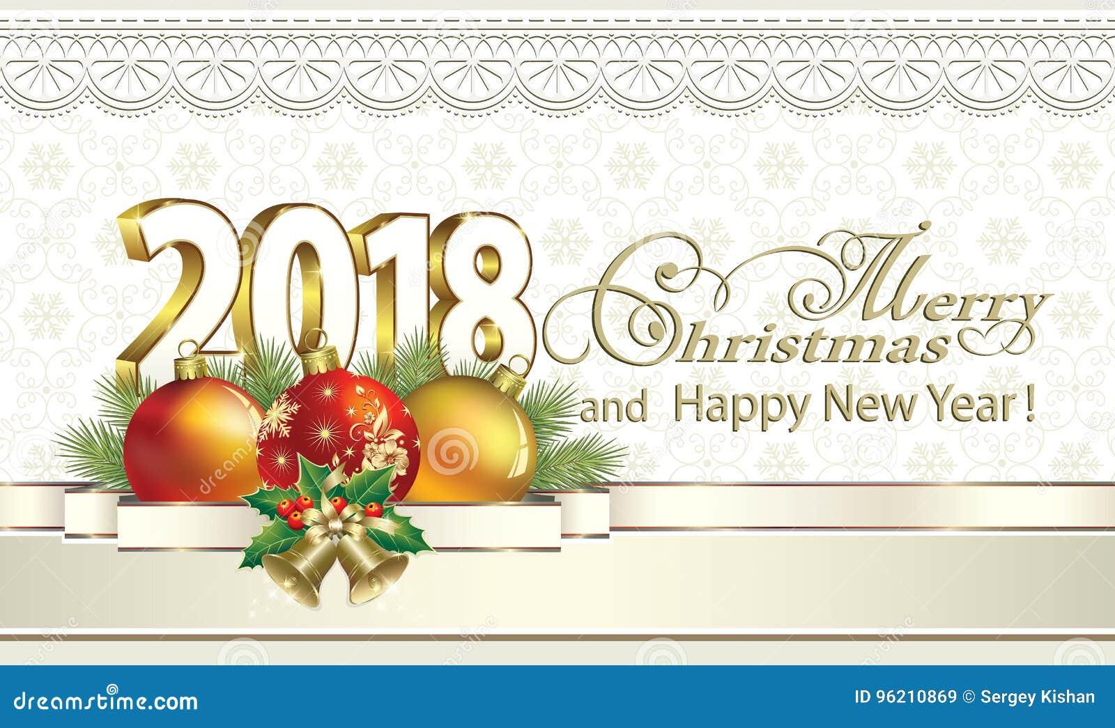 noel 2018 neige Joyeux Noël Et Bonne Année 2018 Sur Un Fond Des Flocons De Neige  noel 2018 neige