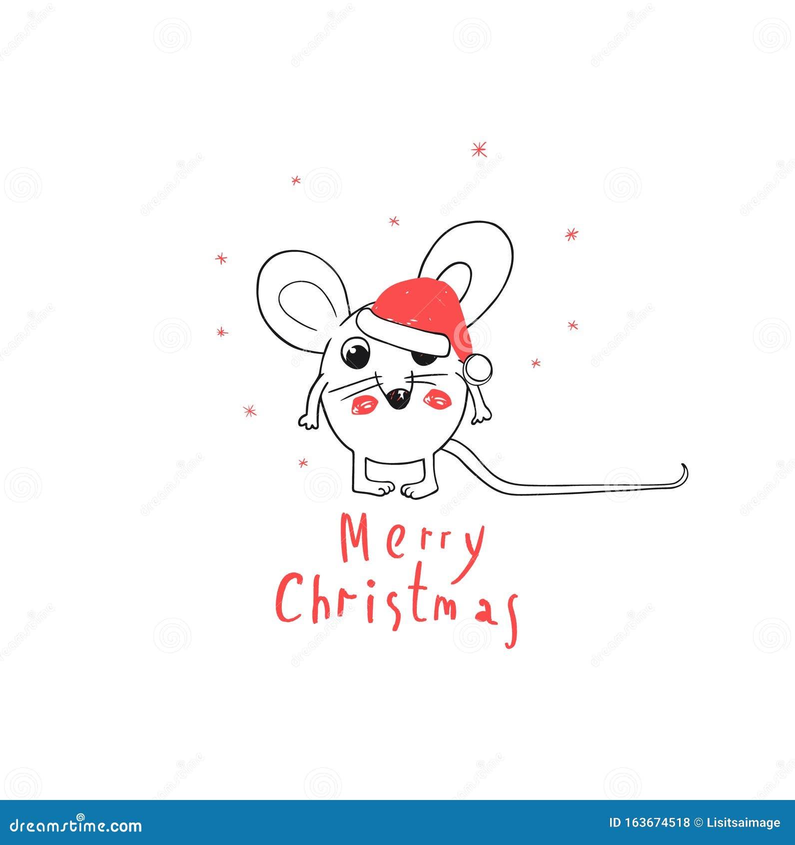 282 Scellé Joyeux Noël Carte de vœux souris Trou drôle Humerous