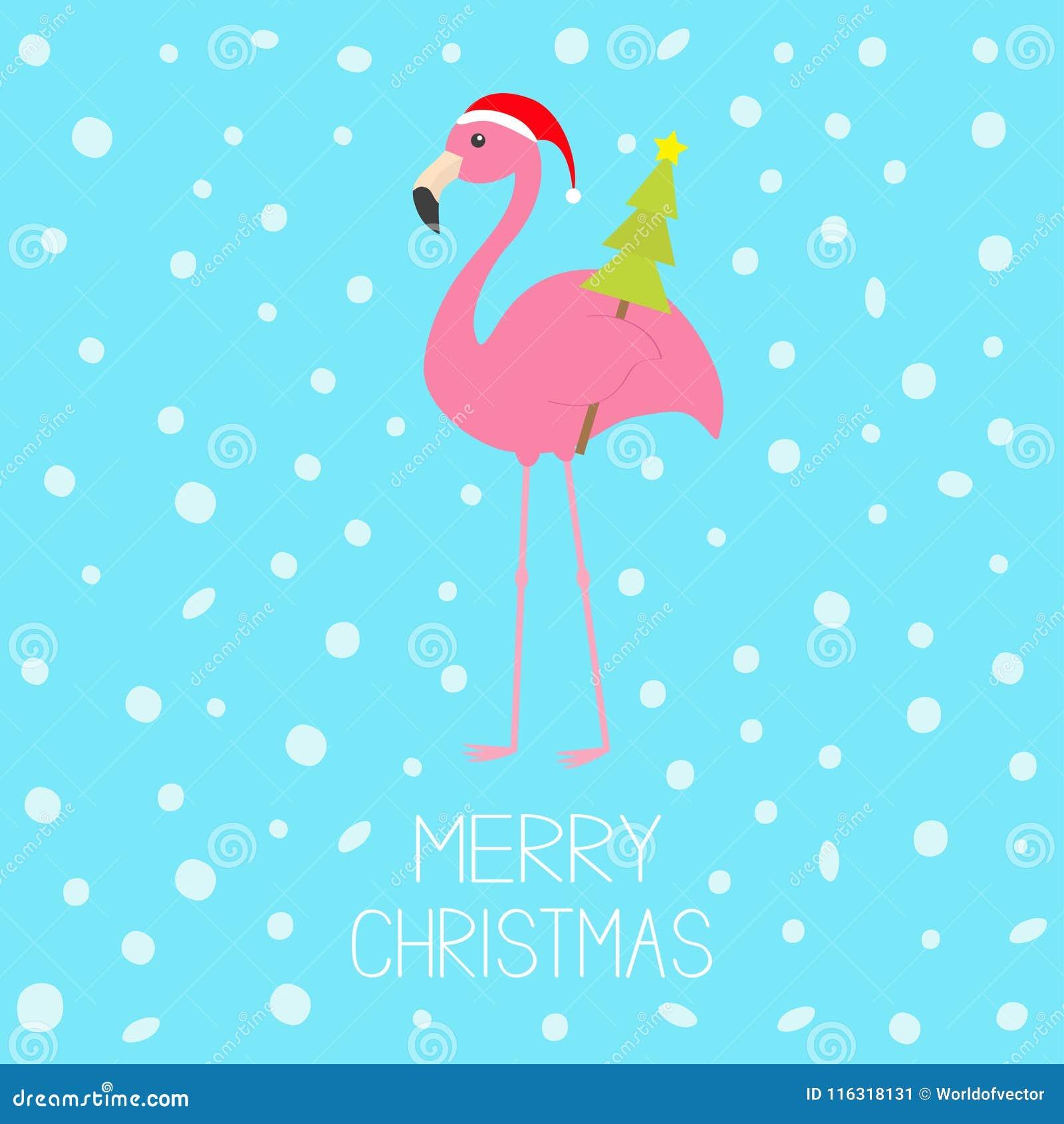 Joyeux Noël Flamant Rose Avec Laile Tenant Larbre De Sapin