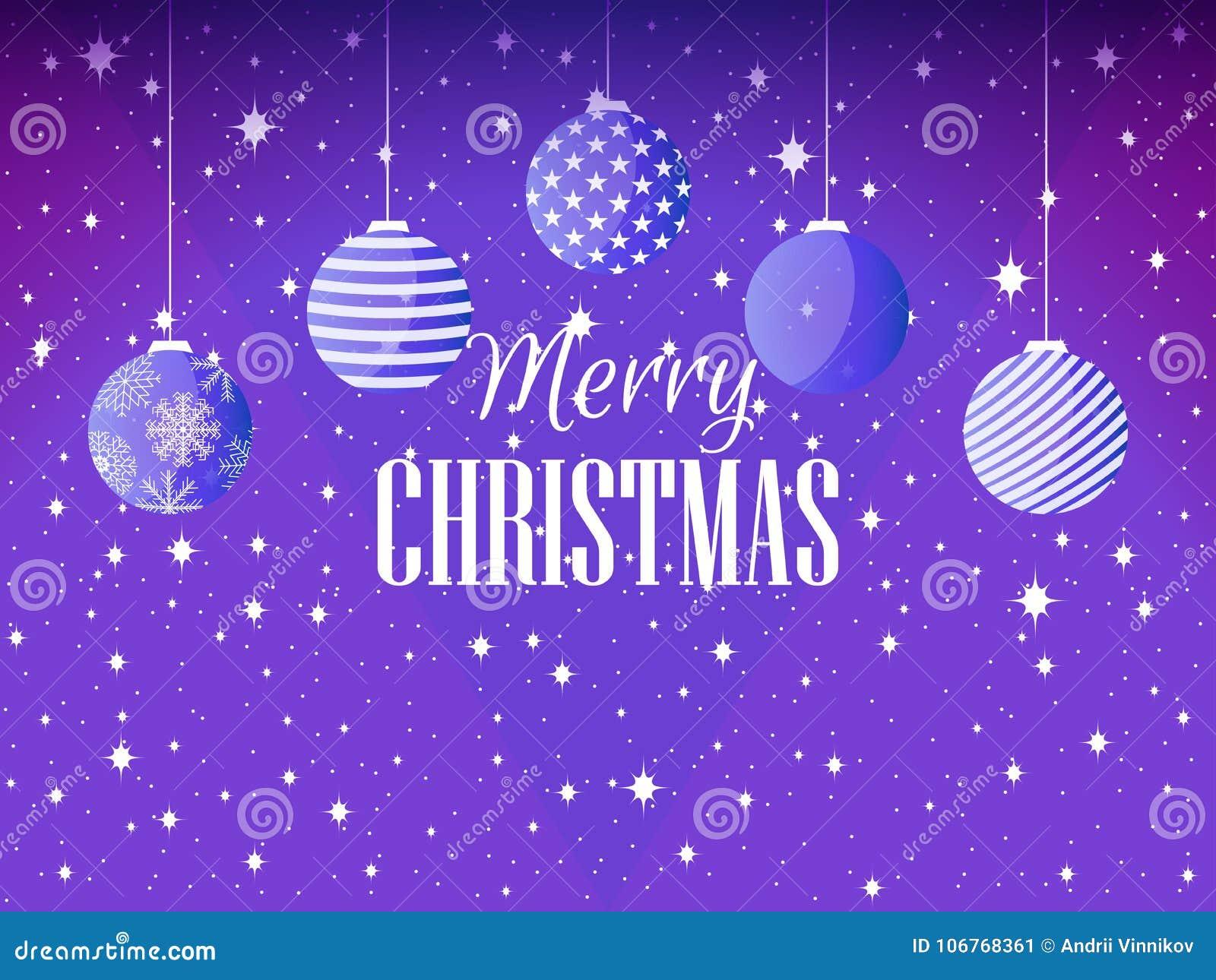 Joyeux Noël Fond avec des boules et des flocons de neige de Noël Vecteur