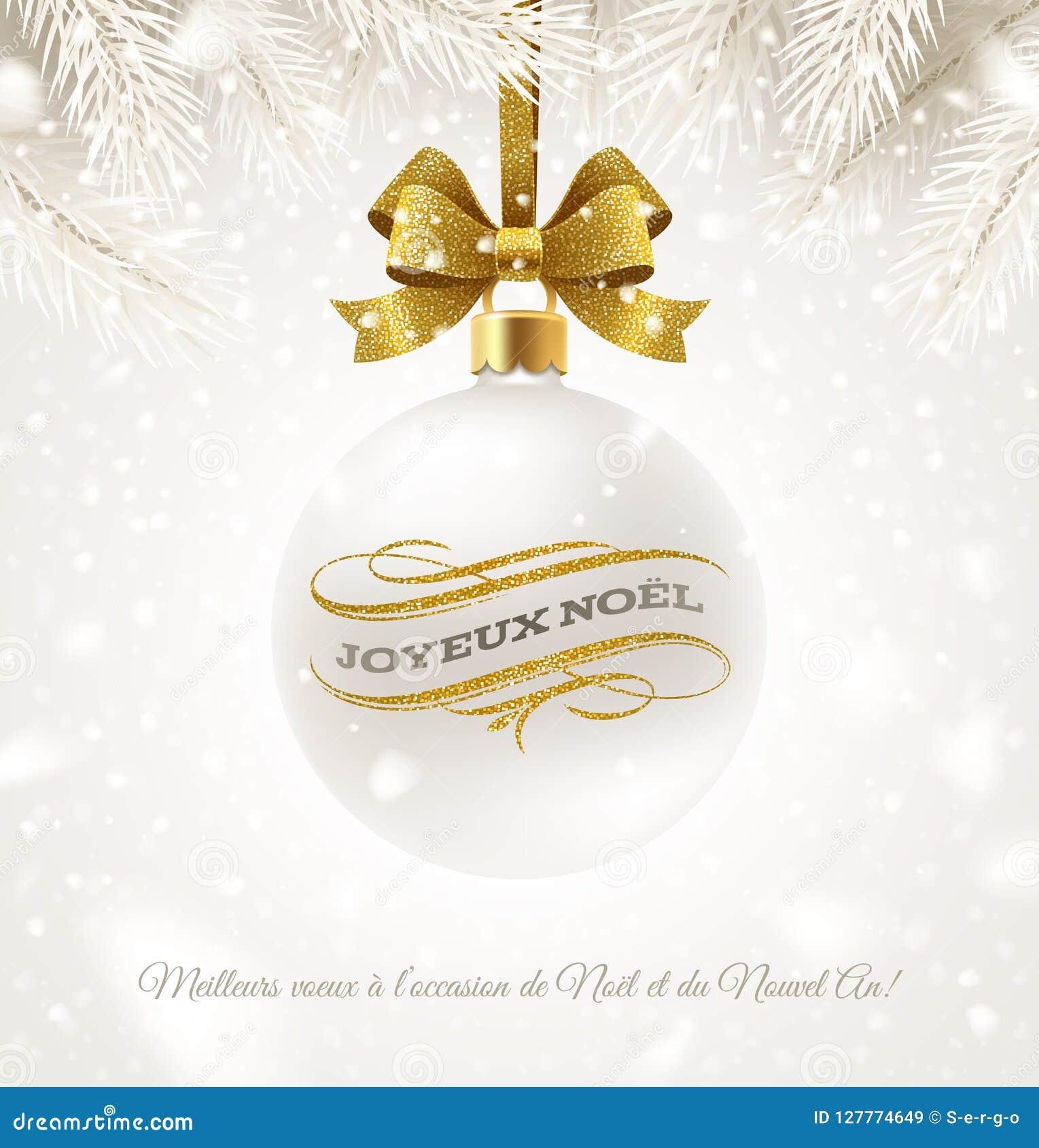 Joyeux Noel Et Nouvel An.Joyeux Noel Hanging White Christmas Bauble With Glitter