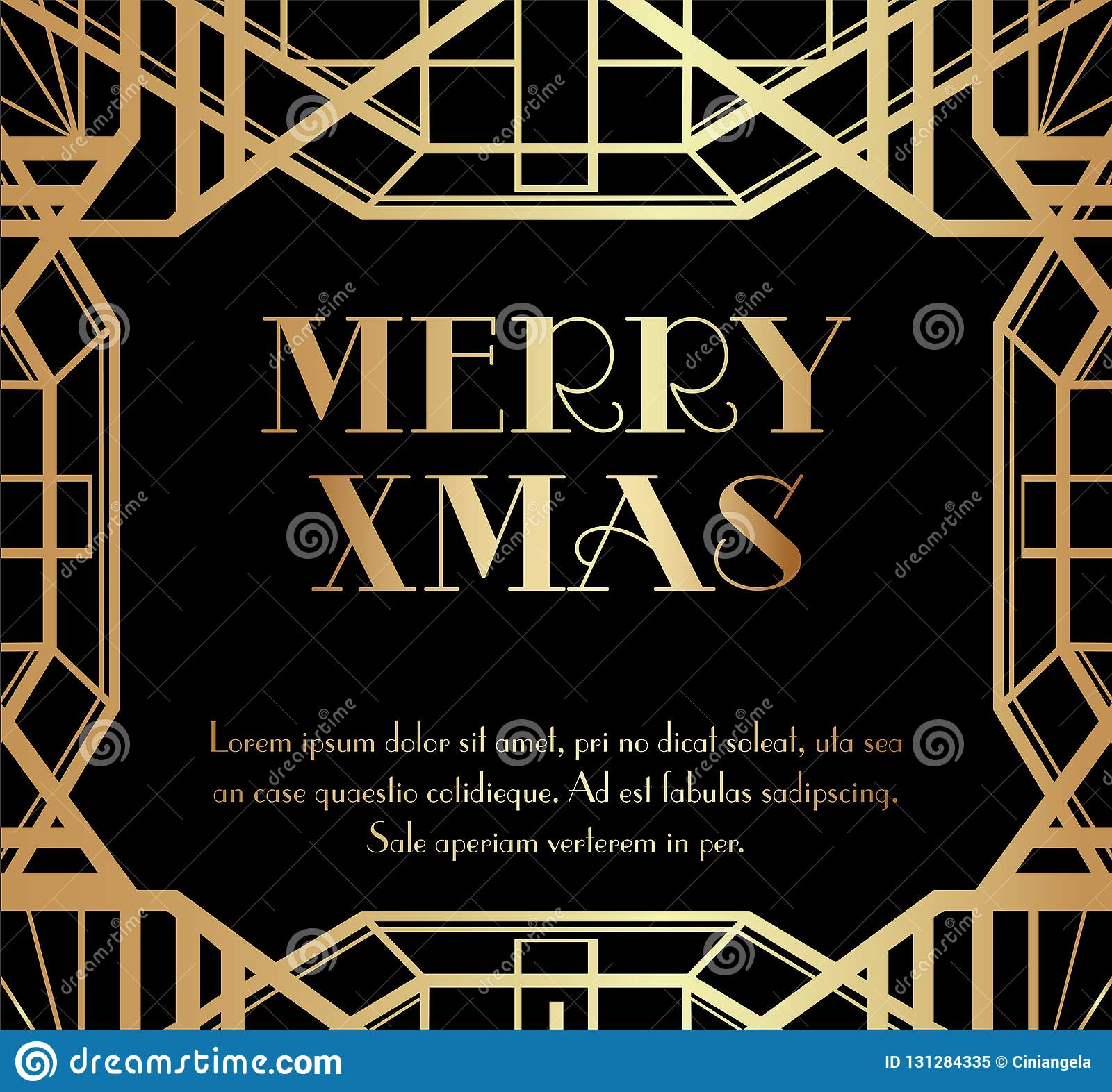 Joyeux Noël Ou Noël Art Deco Invitation Design Illustration