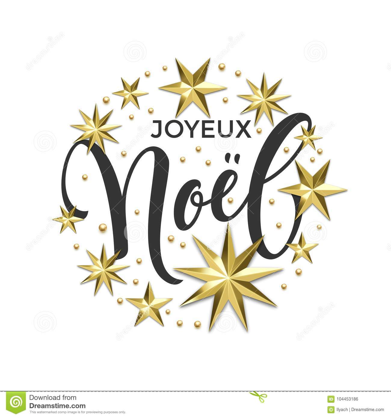 Joyeux Noel French Merry Christmas Golden Decoration Calligraphy