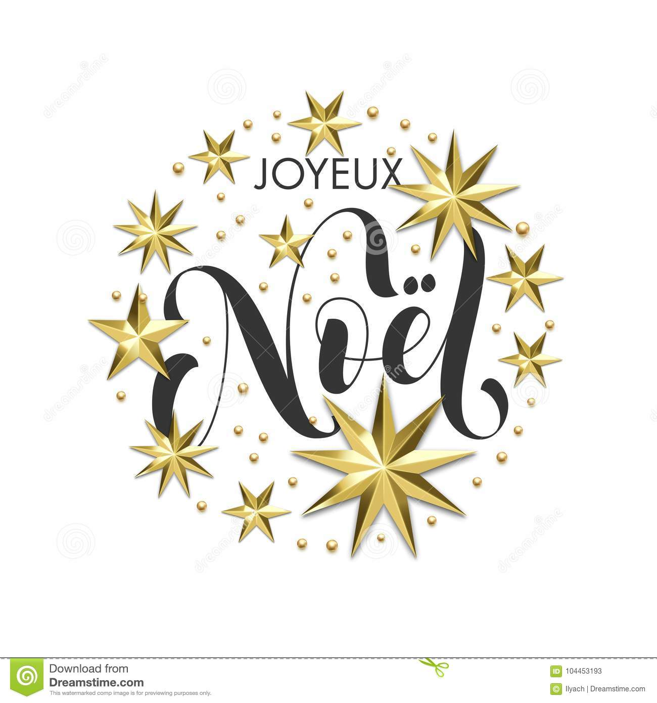 Joyeux Noel French Merry Christmas Golden Star Decoration