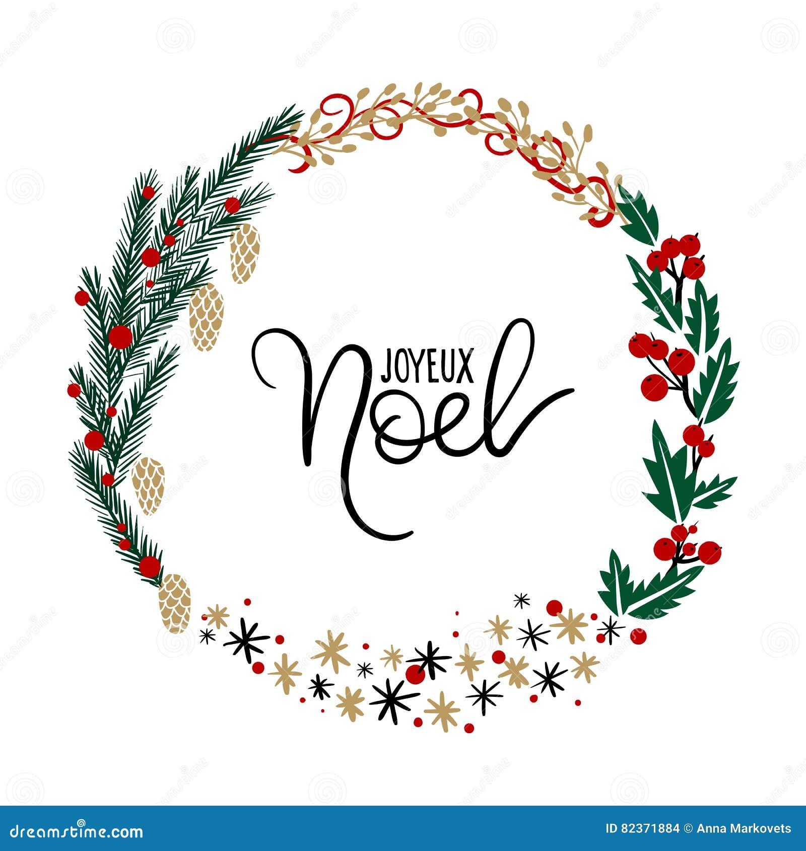 joyeux noel hand lettering greeting card christmas wreath stock