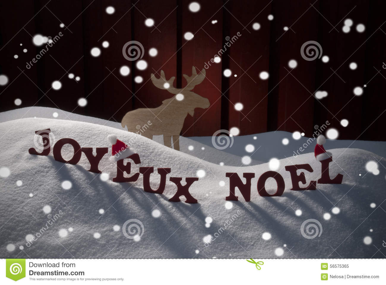 joyeux noel means merry christmas with moose stock photo. Black Bedroom Furniture Sets. Home Design Ideas