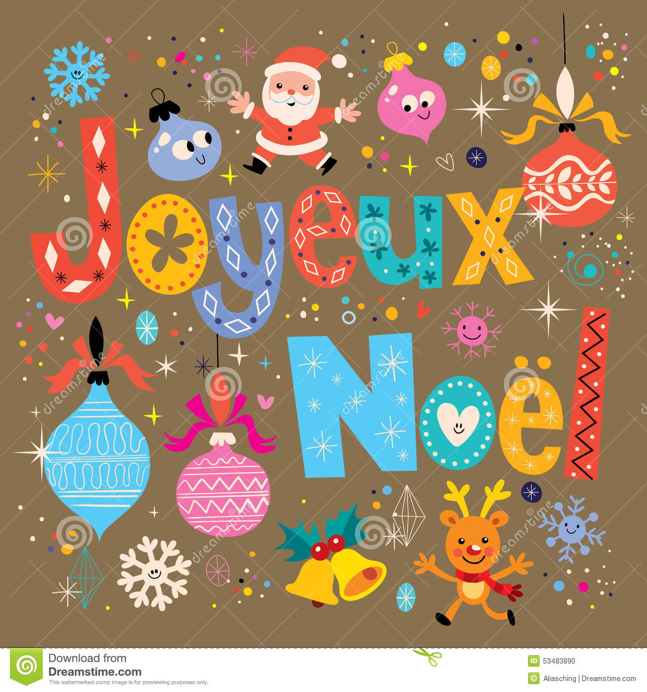 joyeux noel merry christmas in french greeting card - Merry Christmas French