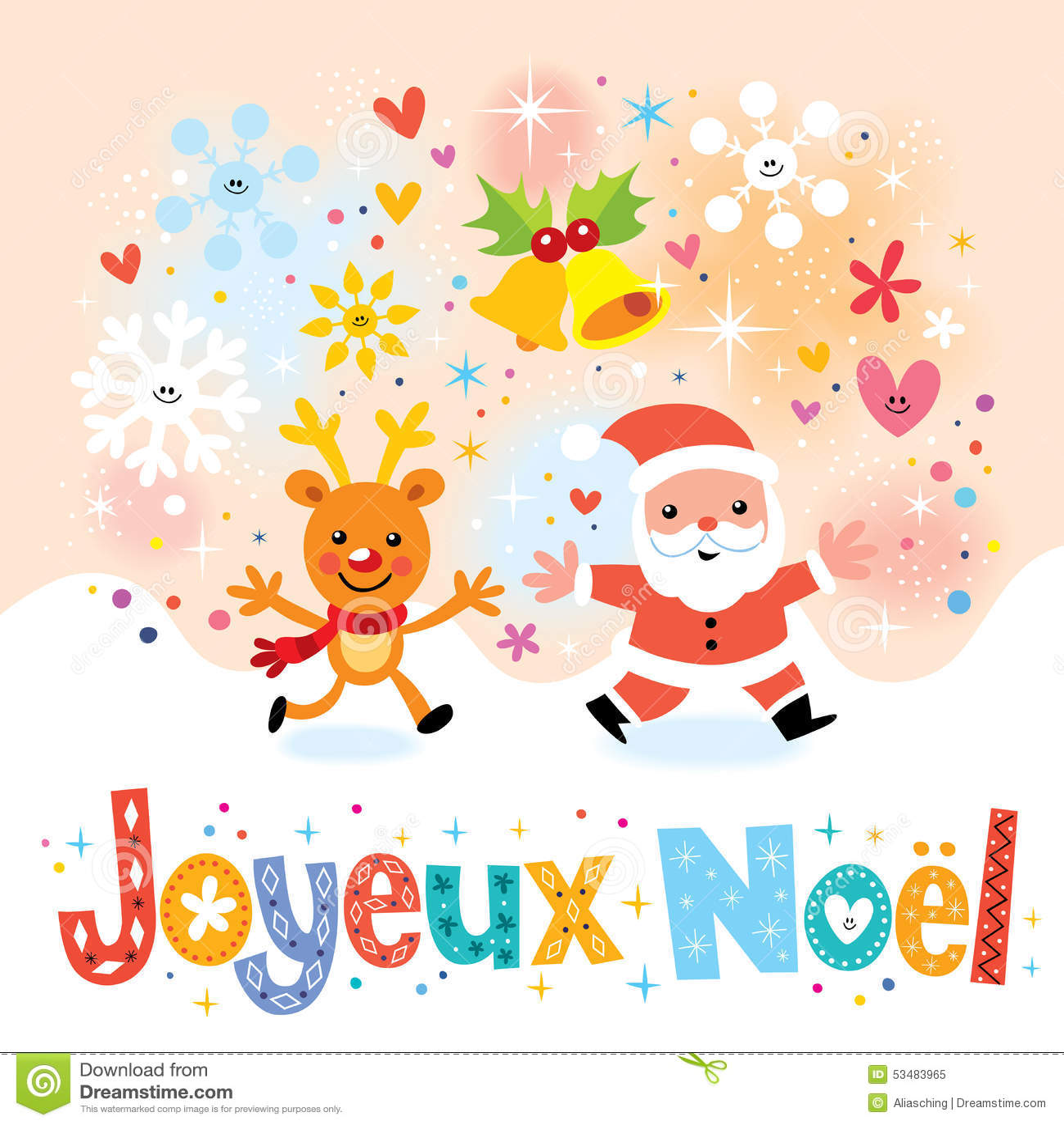 Joyeux Noel Merry Christmas In French Greeting Card Stock