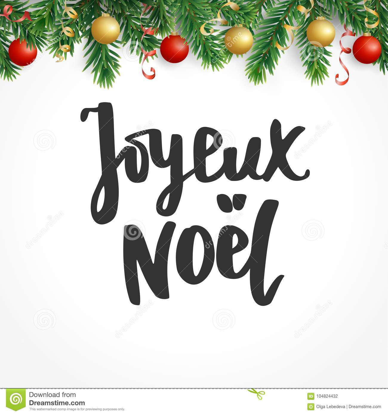 Joyeux Noel Text Holiday Greetings French Quote Fir Tree Branches