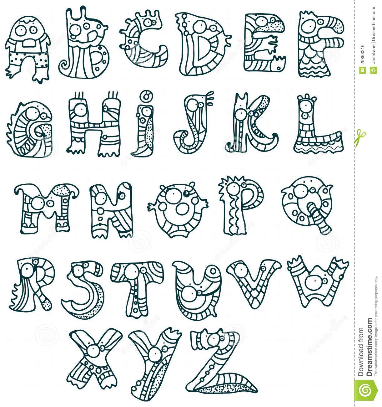 Funny Alphabet Stock Vector Image Of Collection Child