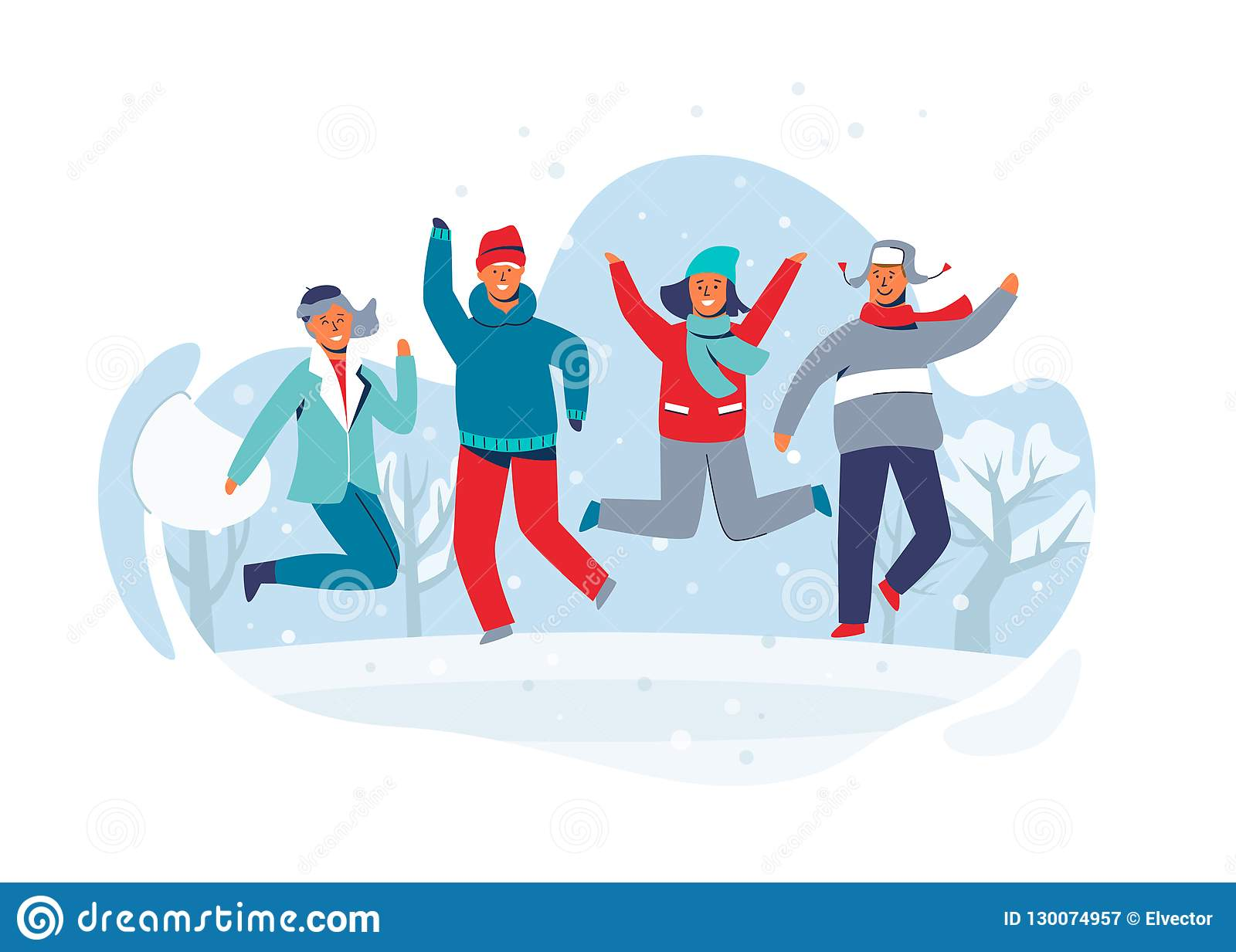 6c2b4c0afc0 Joyful Characters Friends Jumping in the Snow. People in Warm Clothes on  Happy Winter Vacation. Man and Woman Having Fun Outdoors. Vector  illustration