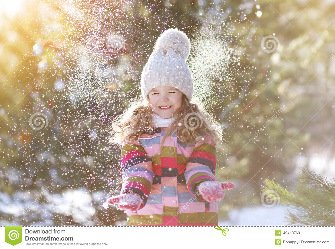 Joyful Child Having Fun With Snow Stock Photo Image