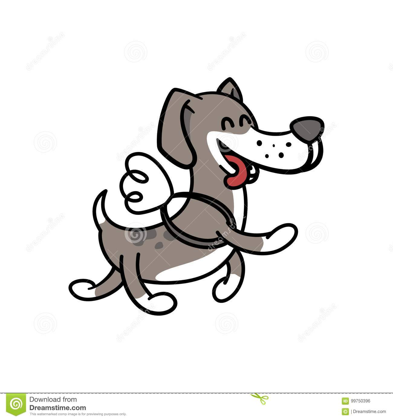 Happy Dog Flies On The Wings, Illustration Coloring Pages For ...