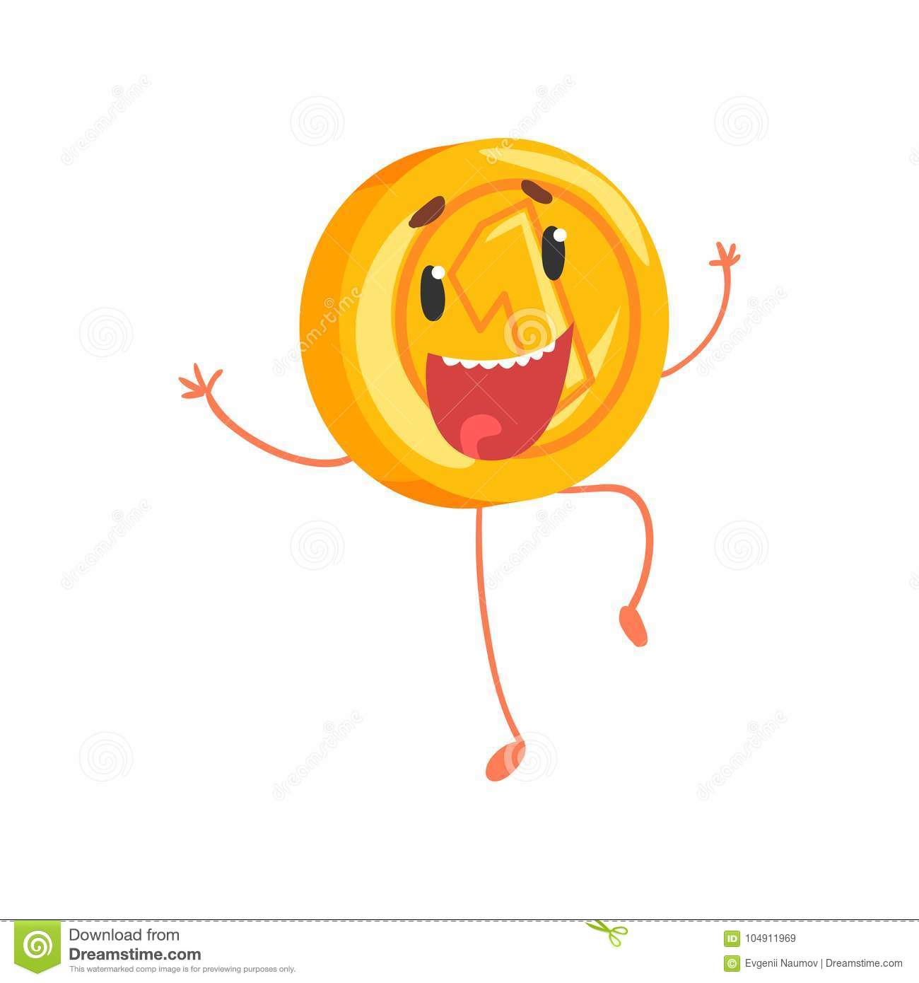 Joyful golden coin jumping with hands up. Cartoon money character with legs and arms. One cent or penny icon in flat