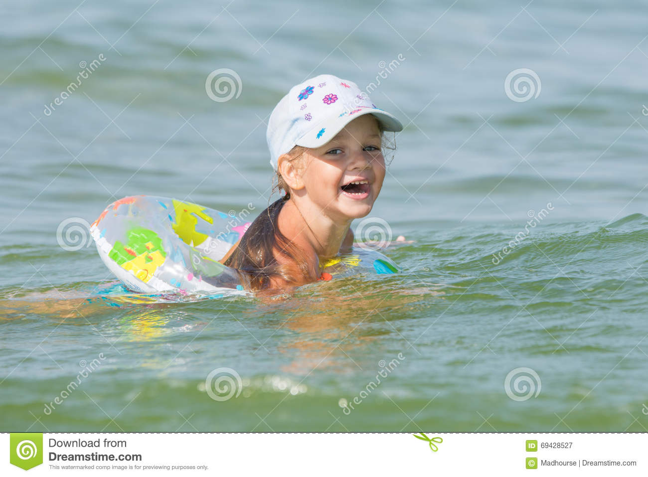 Joyful Little Girl Swimming In Pond At The Children 39 S Circle Stock Photo Image 69428527