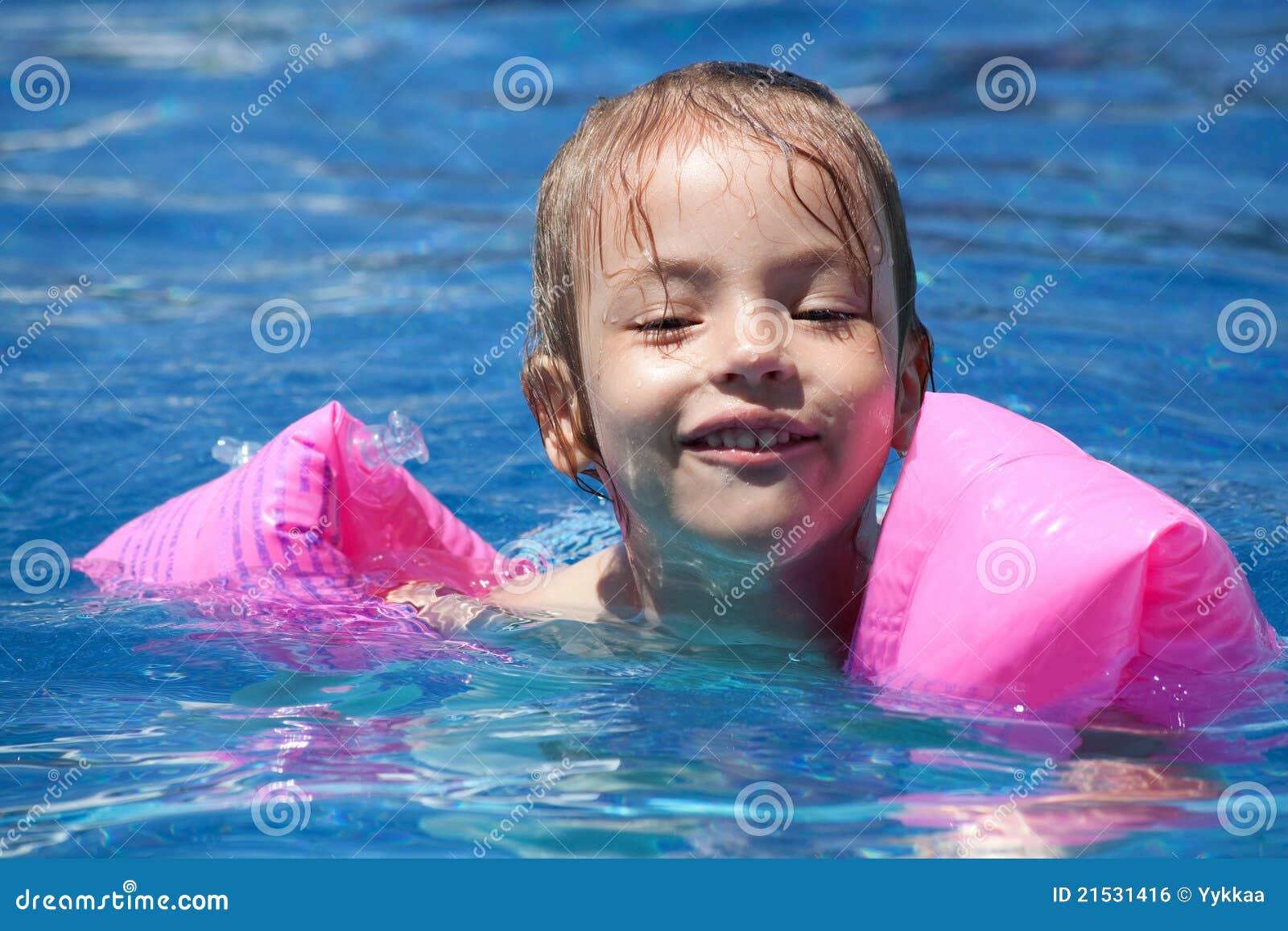 Little Girl Swimming Lake Stock Photo (Edit Now) 462478624