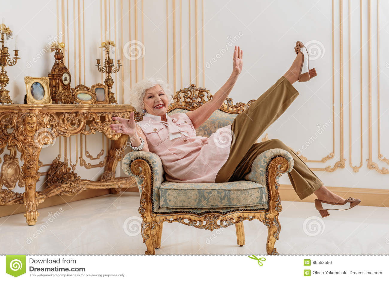 Joyful Old Lady Enjoying Luxury At Home Stock Photo - Image of ...
