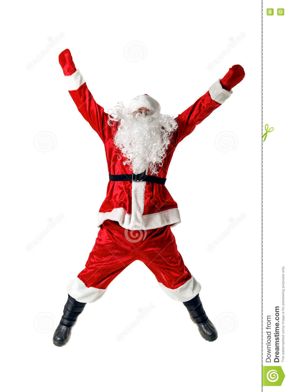 Joyful santa claus jumping and waving his arms stock