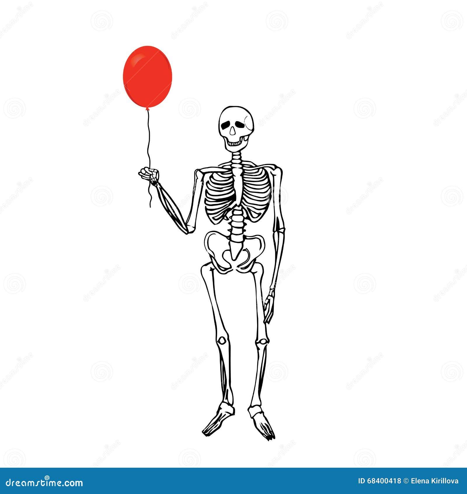 Joyful Skeleton That Keeps The Balloon Stock Vector Illustration