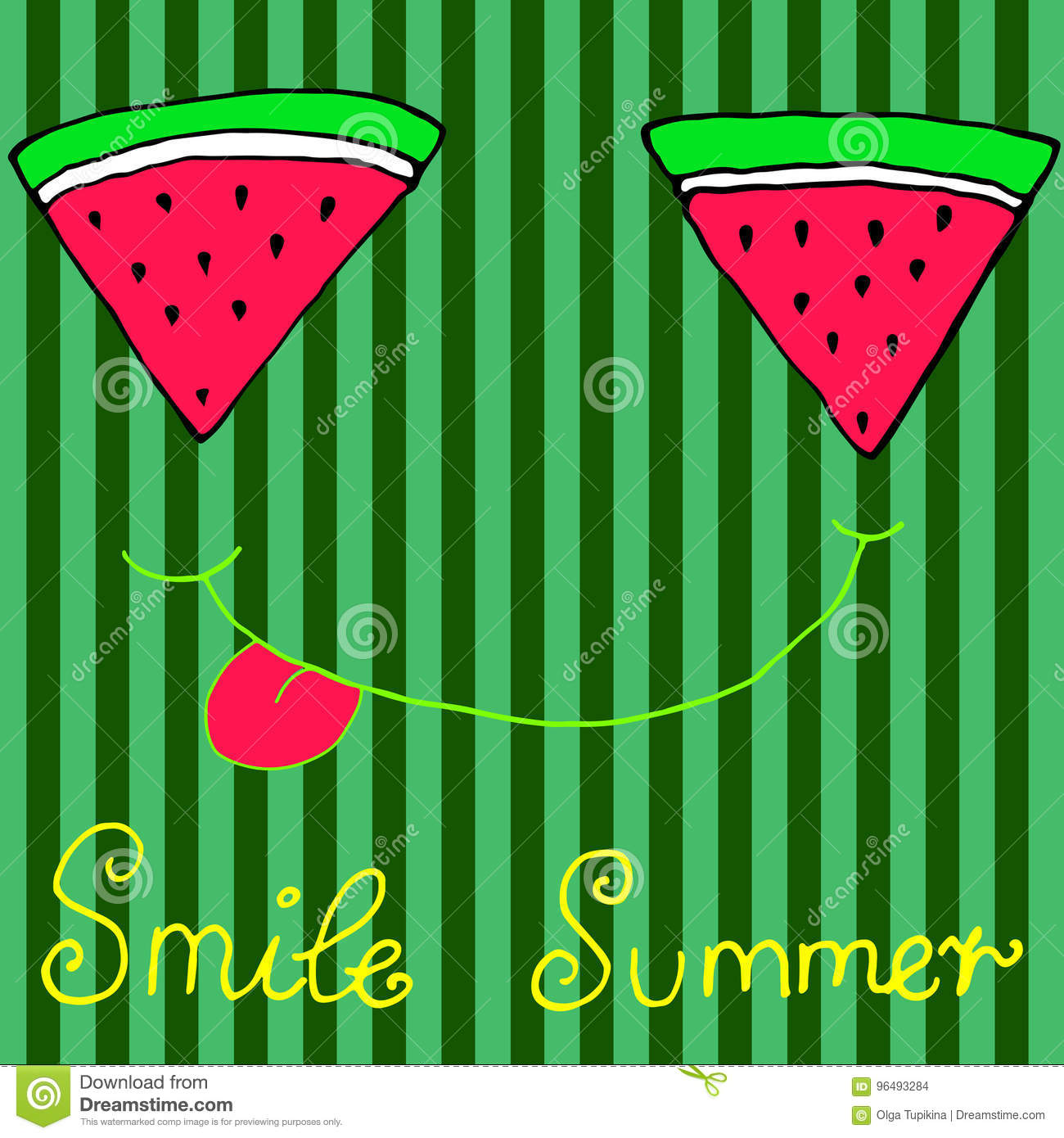 Joyful sliced watermelon slices, smiling showing tongue, isolate