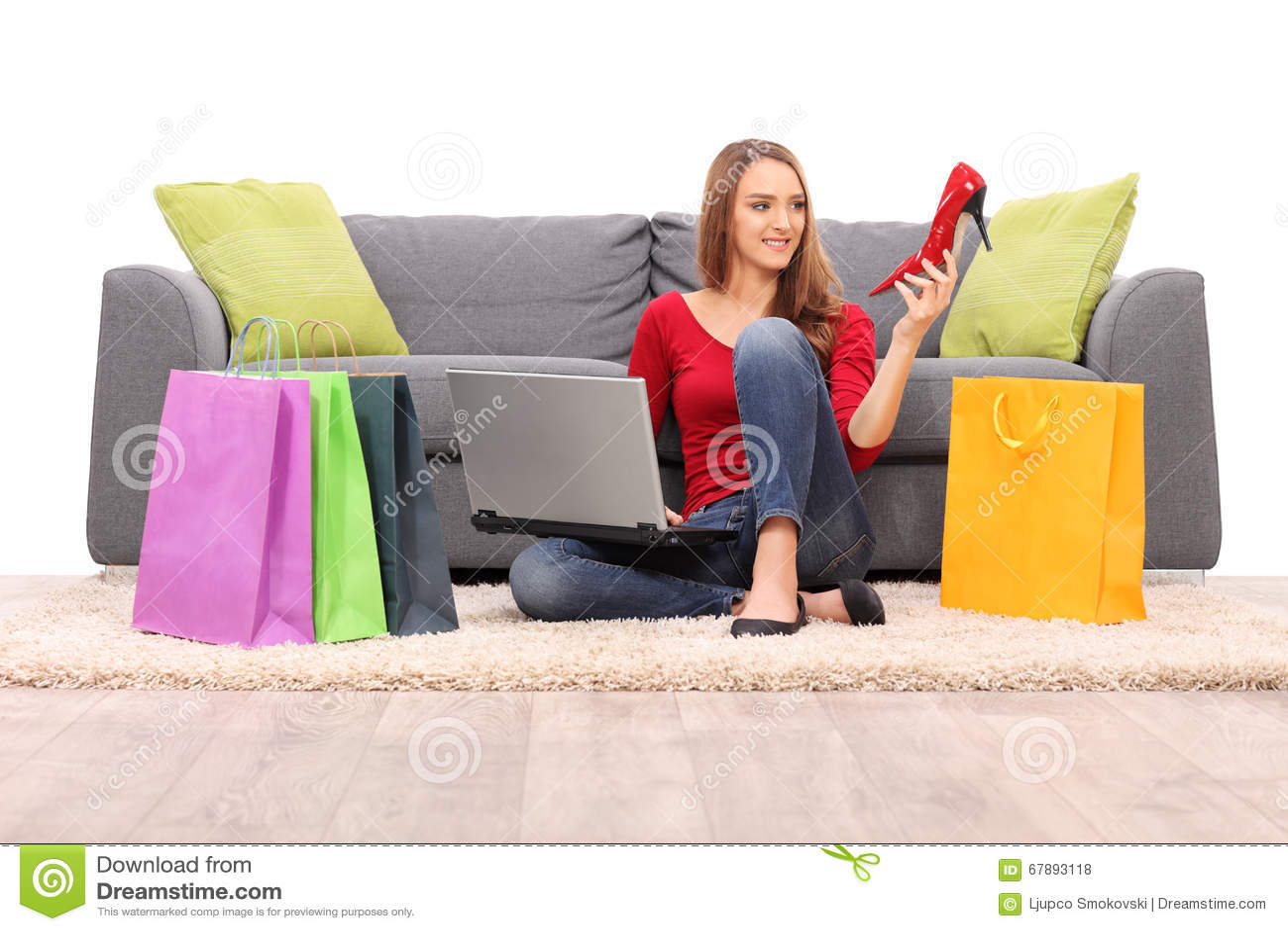 Joyful Woman Buying Shoes Online Stock Photo - Image: 67893118