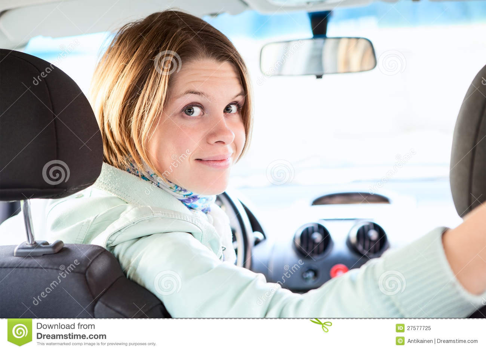 2932x2932 Pubg Android Game 4k Ipad Pro Retina Display Hd: Joyful Woman Inside Of Car Looking Back Royalty Free Stock