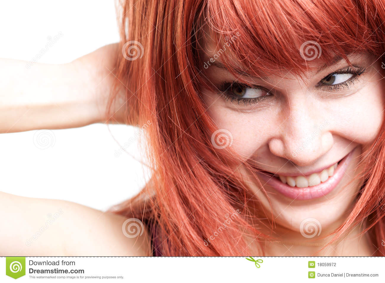 Joyful young woman with cute shy expression