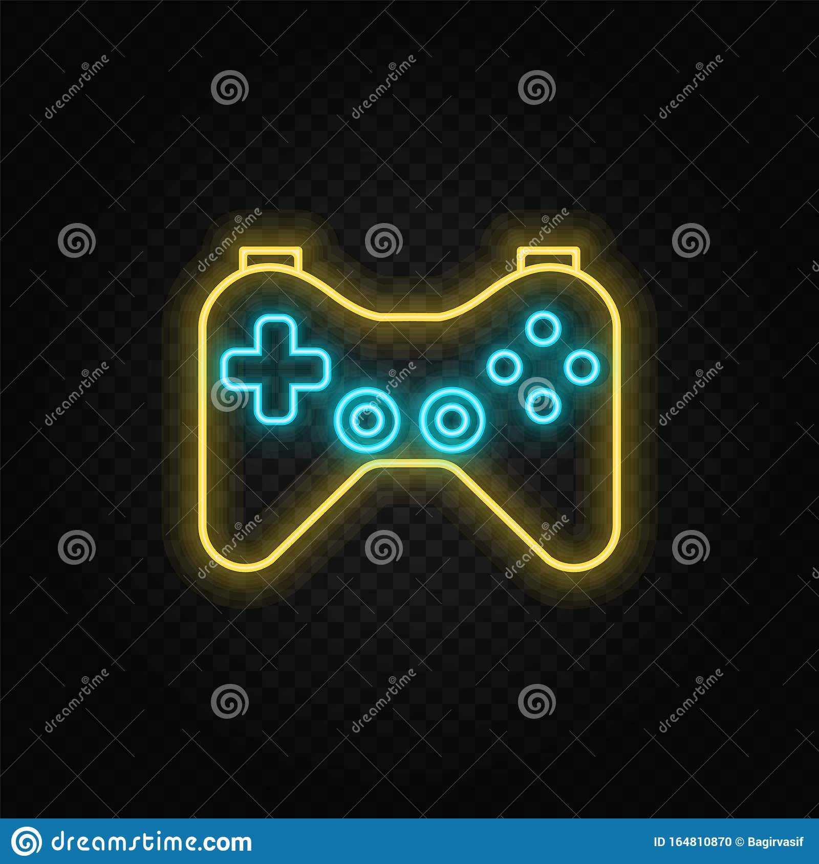 Joystick Game Controller Gaming Neon Icon Blue And Yellow Neon Vector Icon Stock Illustration Illustration Of Digital Neon 164810870