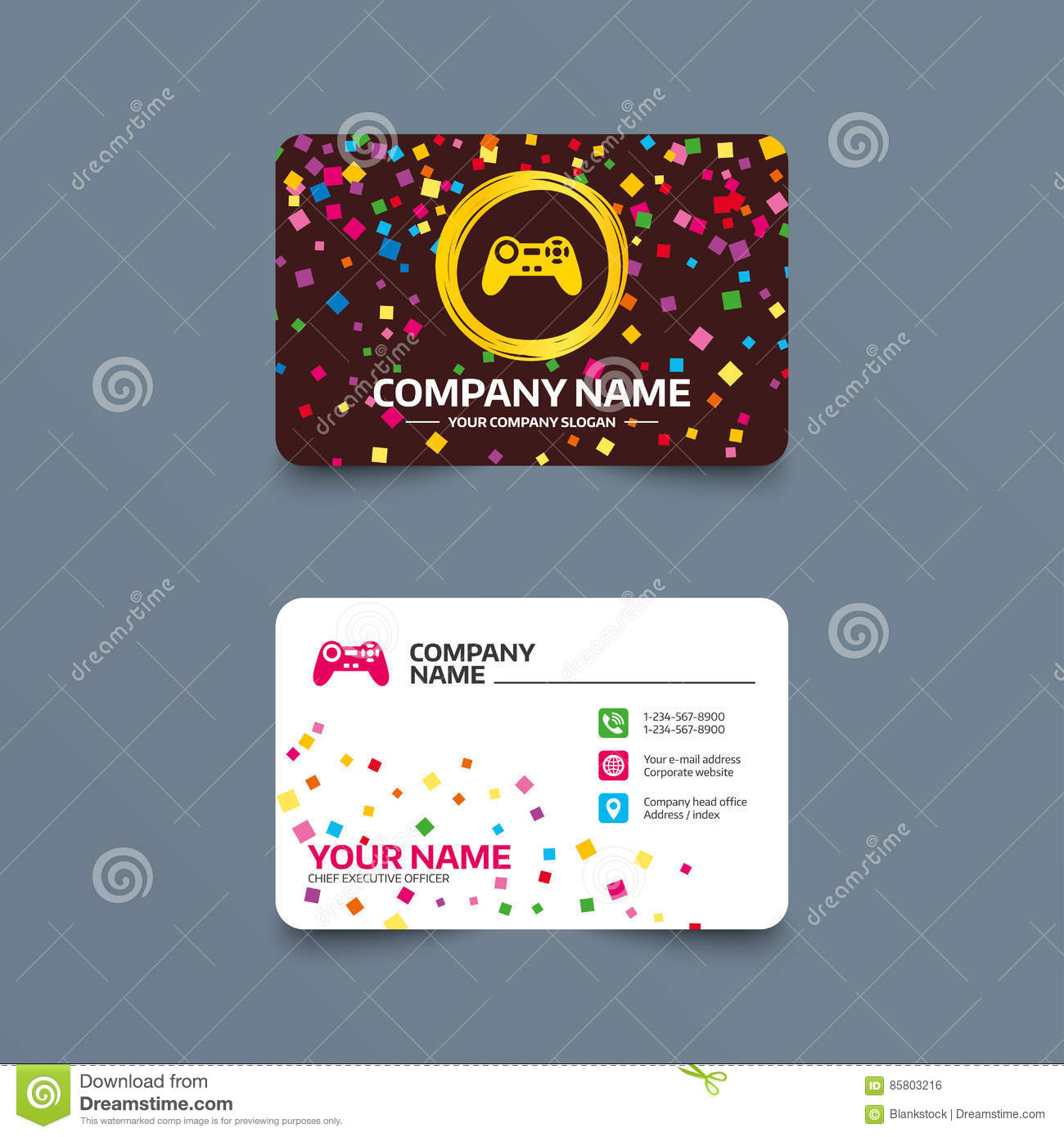 Joystick sign icon video game symbol stock vector for Video game business cards