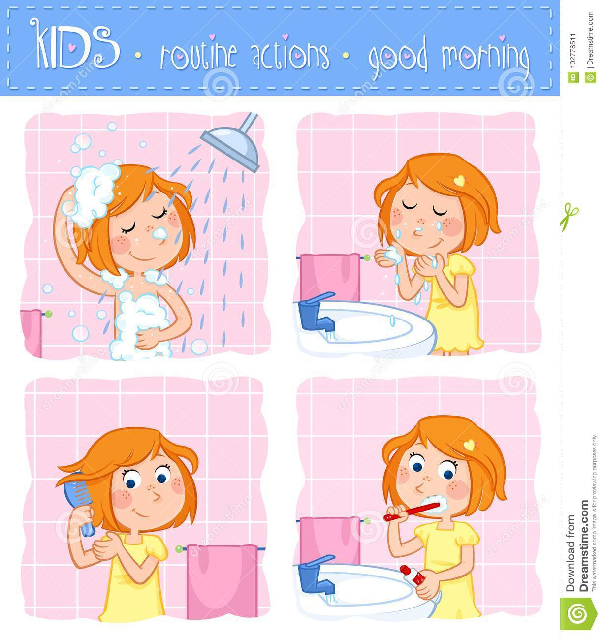 Ginger Desenho in kids - routine actions - tooth brushing, washing face, taking a