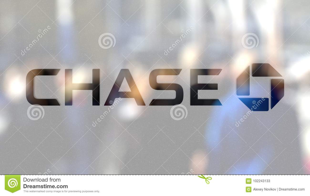 JPMorgan Chase Bank Logo On A Glass Against Blurred Crowd On The ...