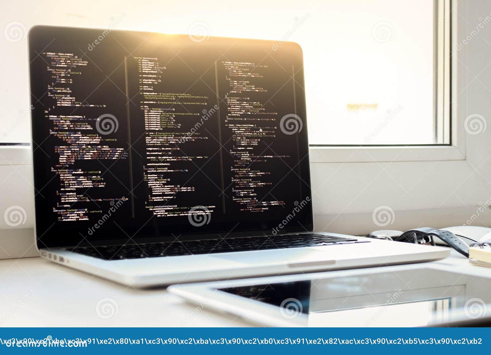 Js-Code auf Laptopschirm, Web-Entwicklung