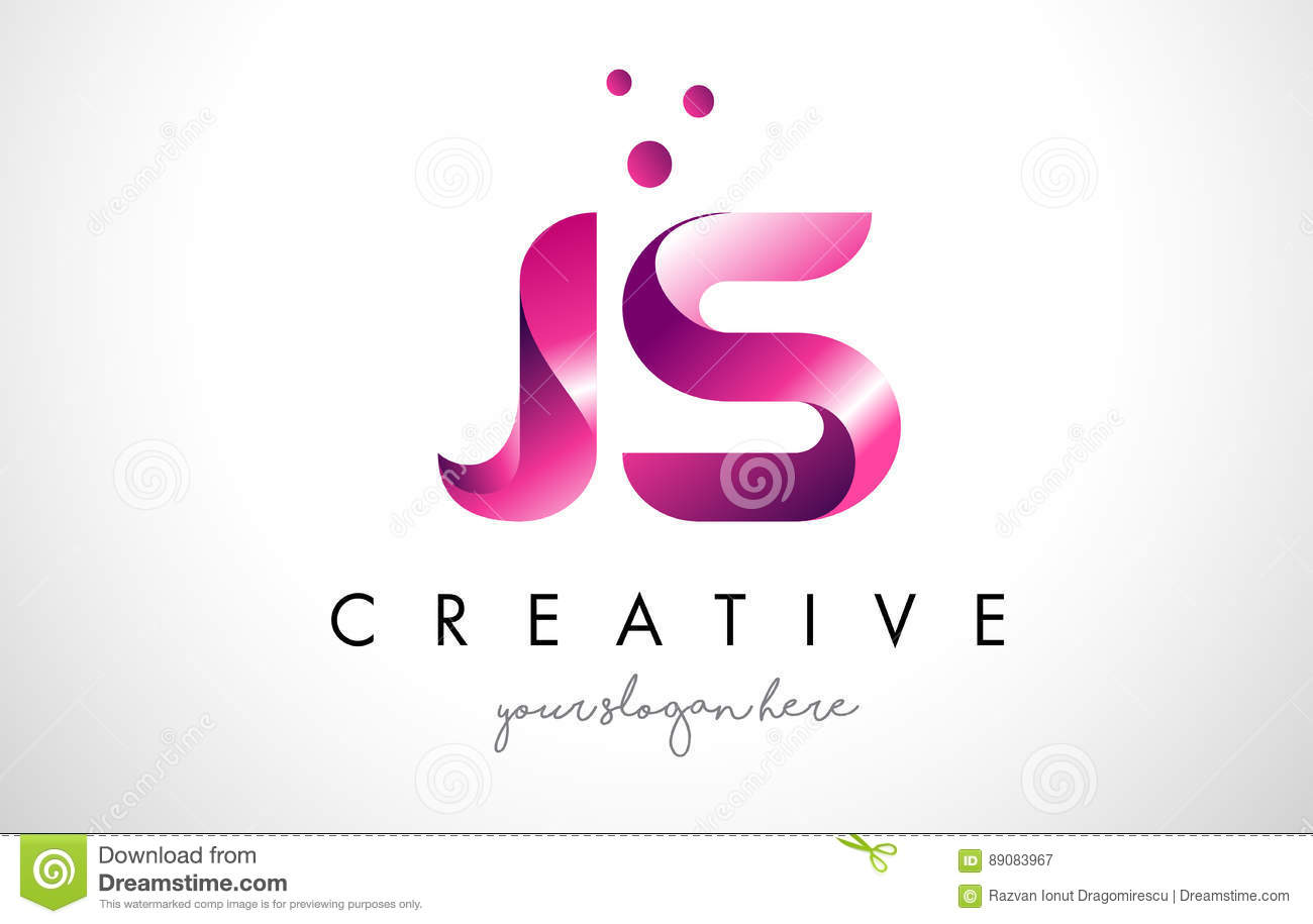 JS Letter Logo Design With Purple Colors And Dots Stock Vector ...