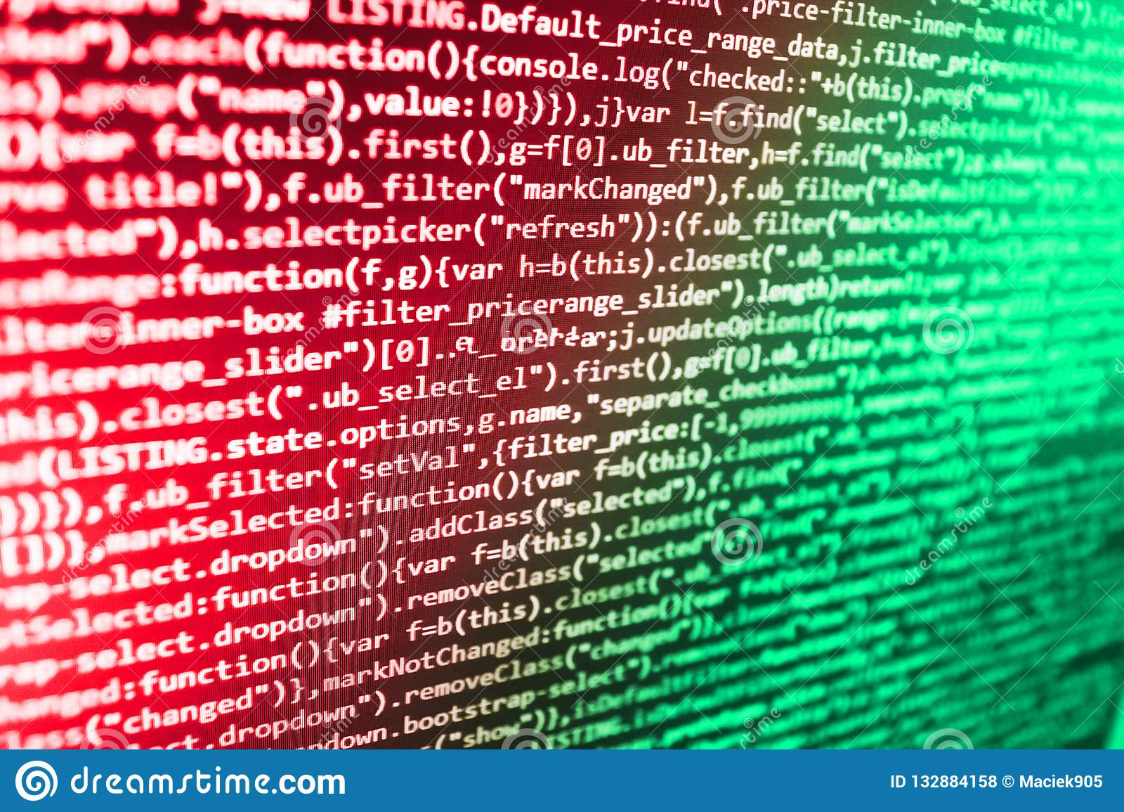 Js y el fondo abstracto Texto programado en la pantalla oscura Desarrollador de la página web de la PC de la fuente Optimización